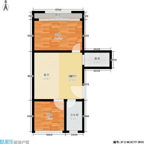 五福新村2室1厅1卫1厨58.00㎡户型图