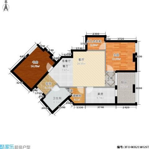 汇金国际公寓2室1厅1卫1厨115.00㎡户型图