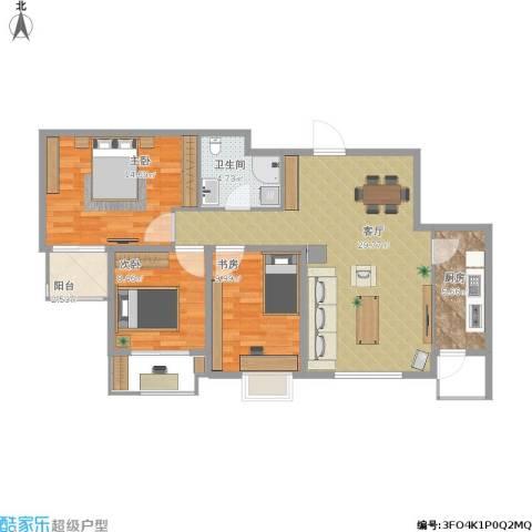 明湖・白鹭郡3室1厅1卫1厨105.00㎡户型图