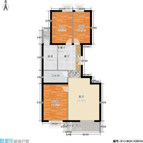 朝阳雅筑3室1厅1卫1厨125.00㎡户型图