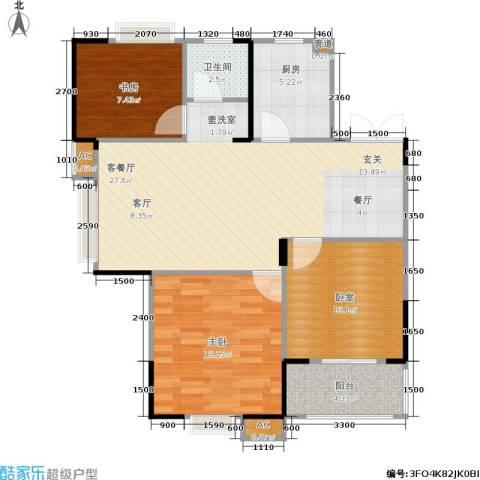 合肥岸上玫瑰2室1厅1卫1厨92.00㎡户型图