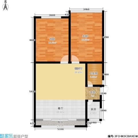 蓝天公寓2室1厅1卫1厨78.00㎡户型图