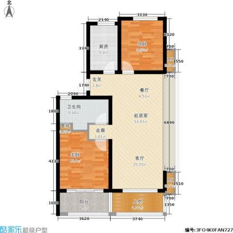 绿地华家池1号2室0厅1卫1厨90.00㎡户型图