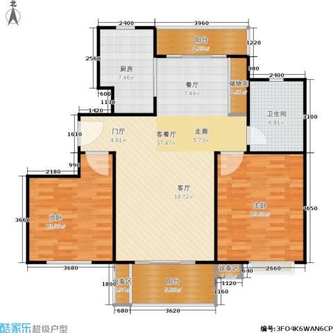 上海源花城2室1厅1卫1厨128.00㎡户型图