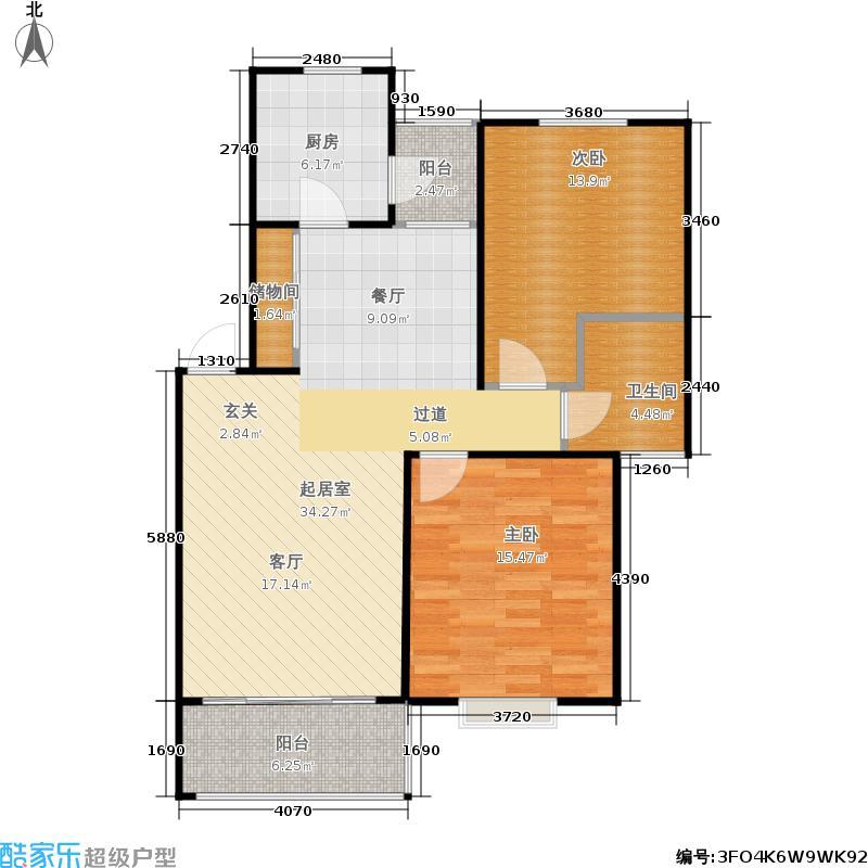 绿波景园91.04㎡二房二厅一卫-91平方米-174套户型