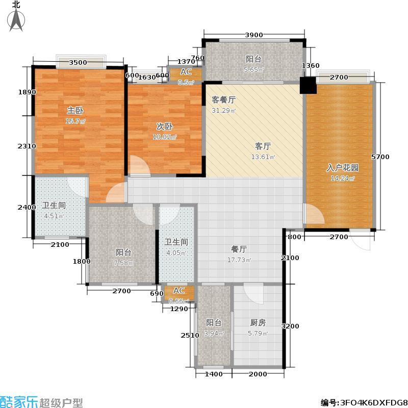莱茵湖畔户型2室1厅2卫1厨