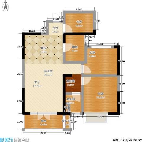 保利香槟国际3室0厅1卫1厨91.00㎡户型图