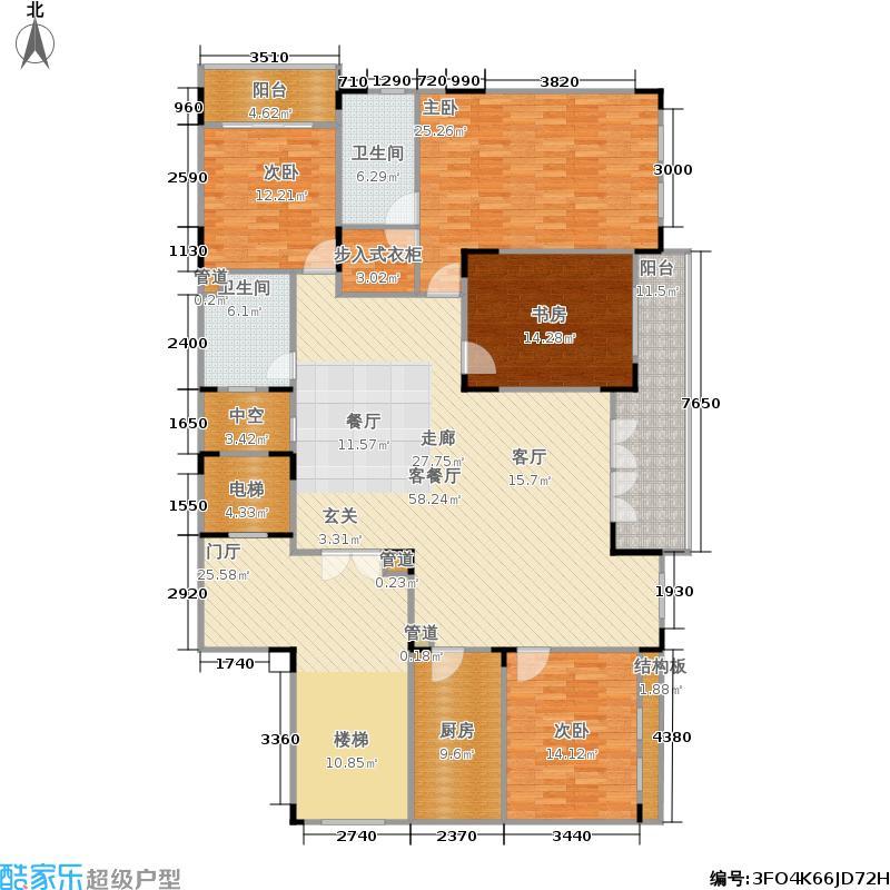 御华名苑215.00㎡房型: 四房; 面积段: 215 -251 平方米;户型