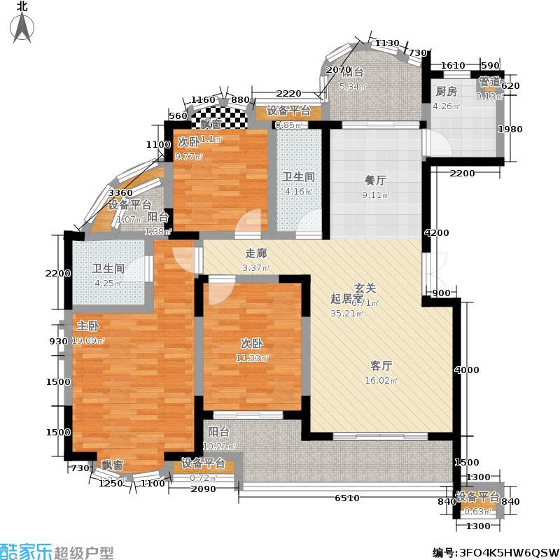 永祺西京三房二厅二卫户型