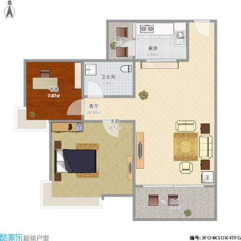 夏逸庭院2室1厅1卫1厨92.00㎡户型图