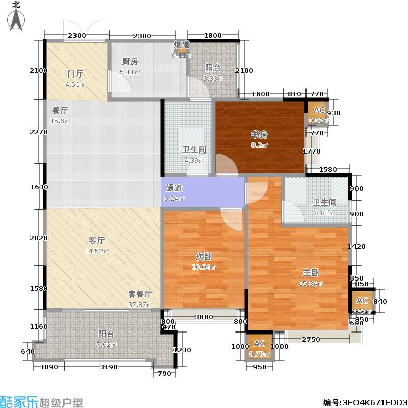 江山帝景116.45㎡罗马时光三室两厅两卫户型