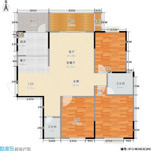 鑫天山城明珠3室1厅2卫1厨143.00㎡户型图