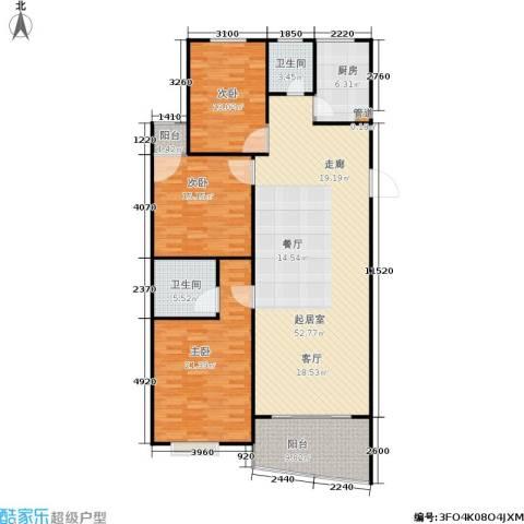 雄海花园3室0厅2卫1厨129.01㎡户型图