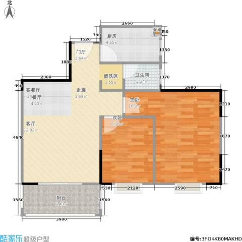 凯姆国际2室1厅1卫1厨77.00㎡户型图