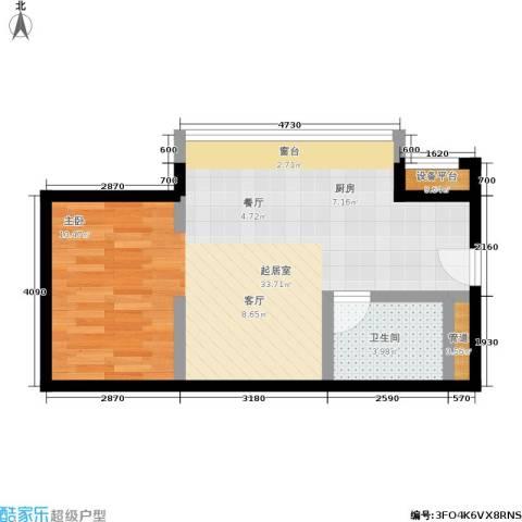 中心铂庭1卫0厨45.00㎡户型图