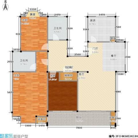 公园养生豪庭3室1厅2卫1厨200.00㎡户型图