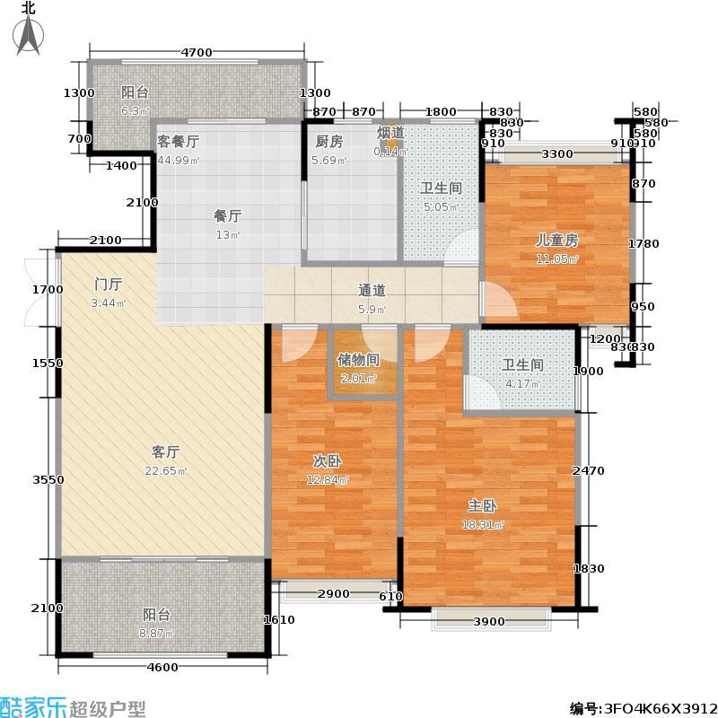 江山帝景140.19㎡凯盛庭4/5栋B-01A户型 3房2厅2卫户型3室2厅2卫