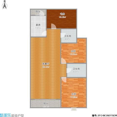 和泰玫瑰园3室1厅2卫1厨156.00㎡户型图