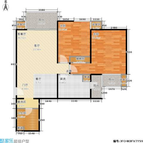 东润枫景2室1厅1卫1厨118.00㎡户型图