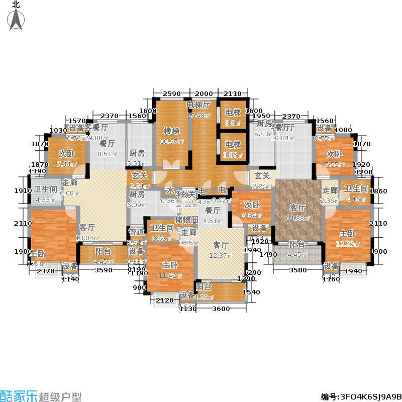 海南世纪花园89.46㎡J、B户型图 2室2厅1卫户型