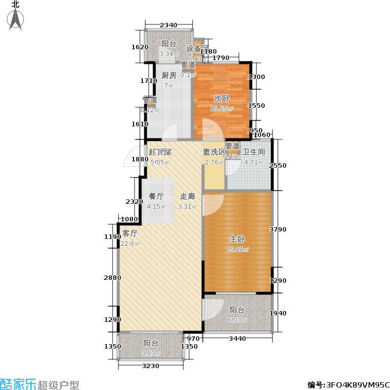 优点社区96.44㎡A1户型两室两厅两卫户型