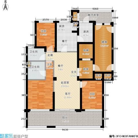 绿地华家池1号3室0厅2卫2厨140.00㎡户型图