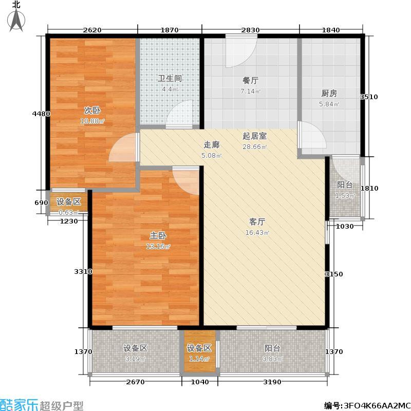旗胜家园89.00㎡D26-3#,4#B两室两厅一卫户型