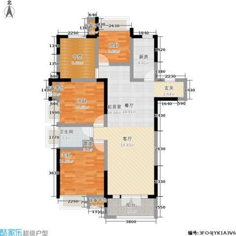 保利香槟国际3室0厅1卫1厨118.00㎡户型图