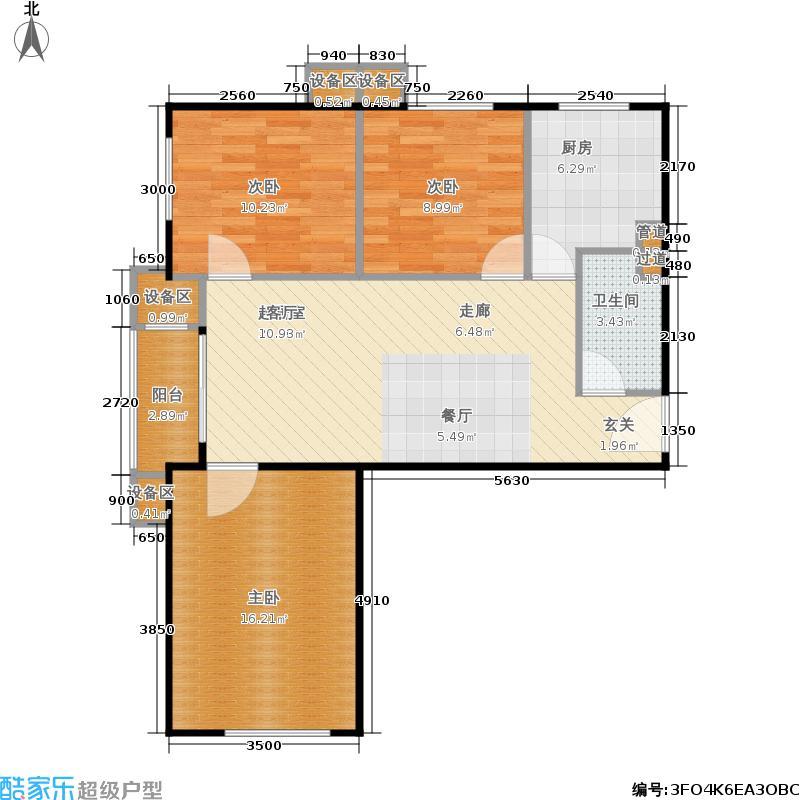 旗胜家园90.00㎡D20-4#D三室一厅一卫户型