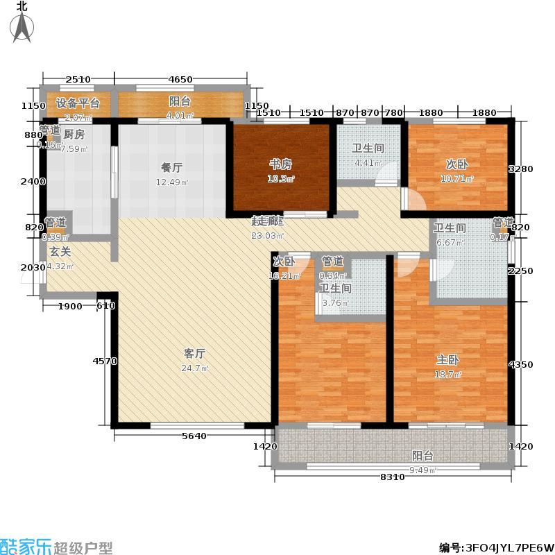 九龙仓月玺184.62㎡1、2号楼D户型