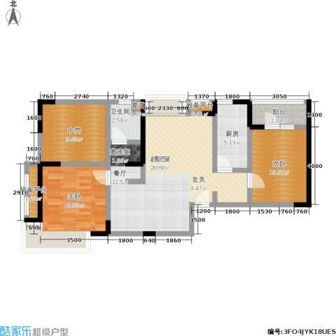 保利香槟国际2室0厅1卫1厨87.00㎡户型图
