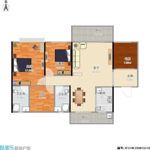 中源明珠4室1厅2卫1厨149.00㎡户型图