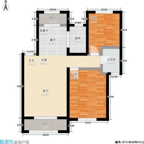 锦绣澜湾2室1厅1卫1厨103.00㎡户型图