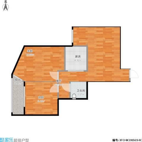 北苑家园紫绶园2室1厅1卫1厨74.00㎡户型图