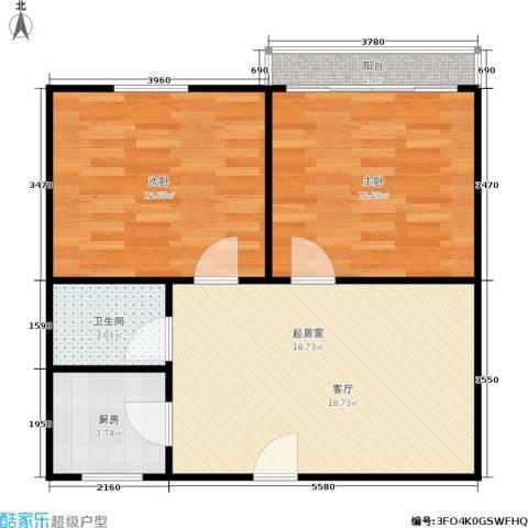 景芳六区2室0厅1卫1厨57.00㎡户型图
