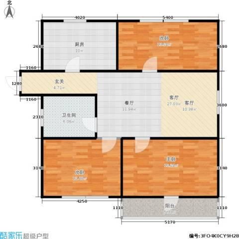 丹桂公寓3室1厅1卫1厨96.00㎡户型图