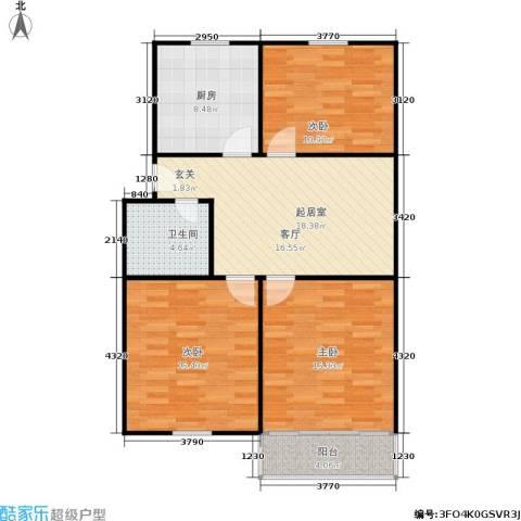 景芳六区3室0厅1卫1厨83.00㎡户型图