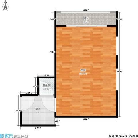 景芳六区1室0厅1卫1厨49.00㎡户型图