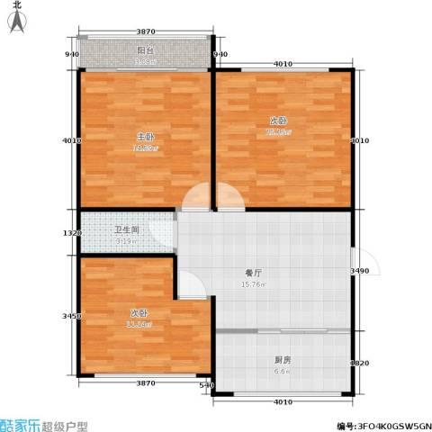 景芳六区3室1厅1卫1厨75.00㎡户型图