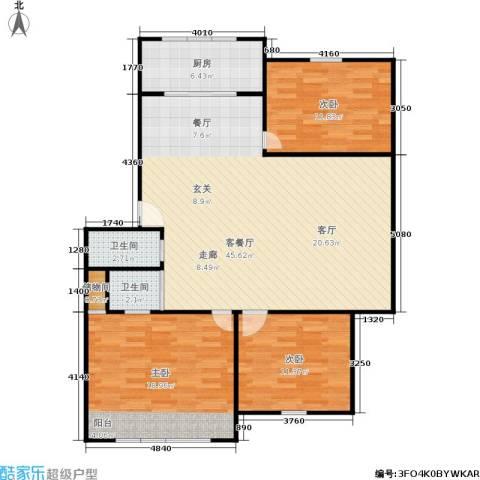 施家桥3室1厅2卫1厨106.00㎡户型图
