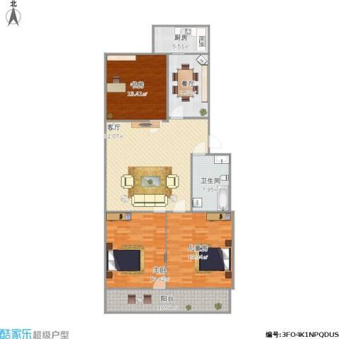 南刘家庄小区3室2厅1卫1厨157.00㎡户型图