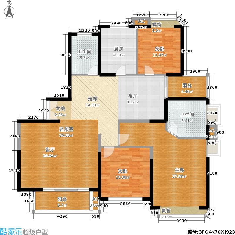 福源汇居房型: 三房; 面积段: 163 -164 平方米; 户型