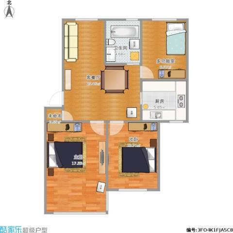 潼港二村2室1厅1卫1厨90.00㎡户型图