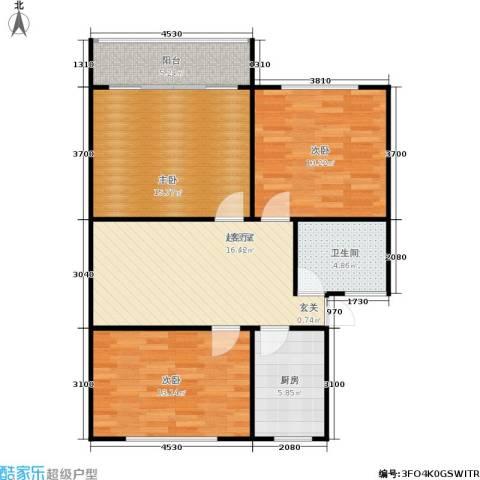 景芳六区3室0厅1卫1厨81.00㎡户型图
