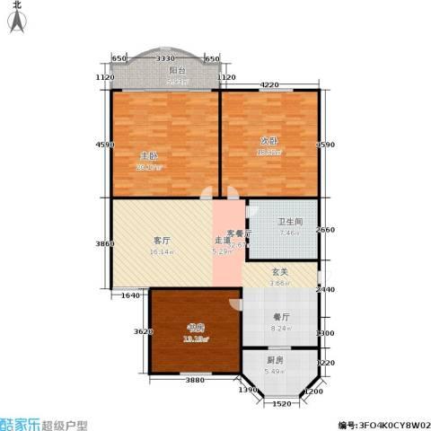 丹桂公寓3室1厅1卫1厨110.00㎡户型图