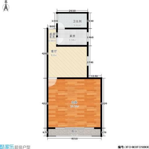 朝晖二区1室0厅1卫1厨40.00㎡户型图