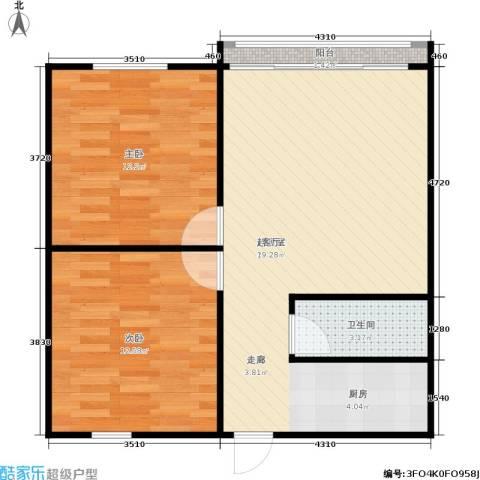 朝晖二区2室0厅1卫0厨61.00㎡户型图