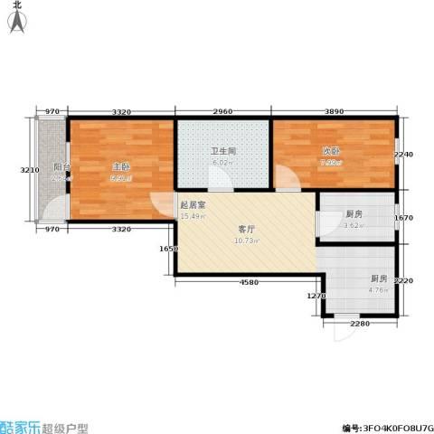 朝晖二区2室0厅1卫1厨50.00㎡户型图