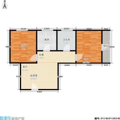 朝晖二区2室0厅1卫1厨58.00㎡户型图
