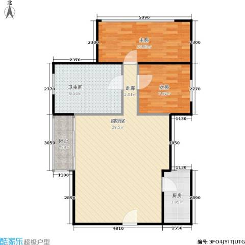 湖畔花园2室0厅1卫1厨70.00㎡户型图